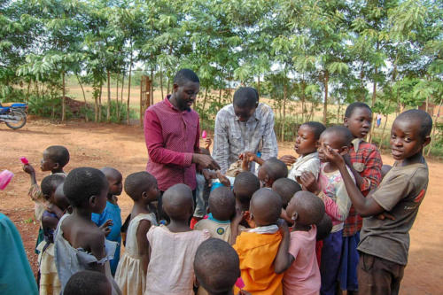 orphans getting a popsicle