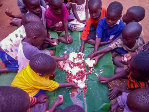 the orphans eating a meal