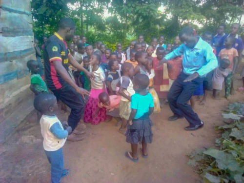 Katongole with the children